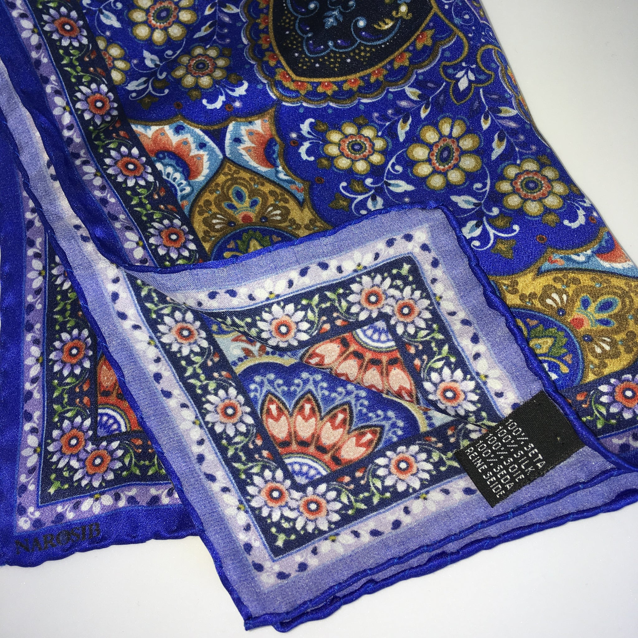 Persian blue MINA Illustrated Silk Scarf- Narosib Switzerland- Made in Italy
