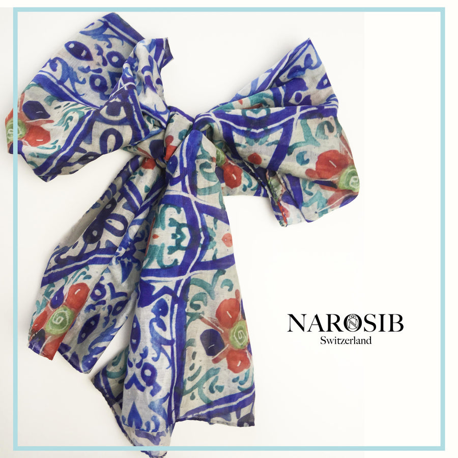 """Azure"" Illustrated Cotton-Silk Scarf- Narosib Switzerland- Made in Italy"