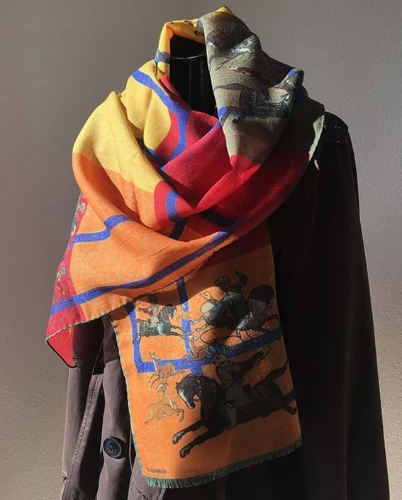 """Shiraz"" Illustrated Wool Scarf- Narosib Switzerland- Made in Italy"