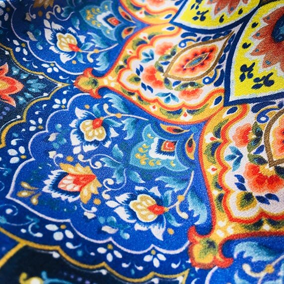 Mina Illustrated Silk Scarf- Narosib Switzerland- Made in Italy