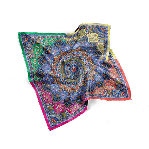 MINA MULTI-COLOUR PRINT SCARF IN SILK TWILL- Narosib Switzerland- Made in Italy