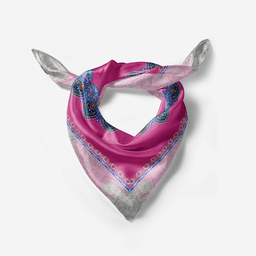 """Mina"" Illustrated Silk Scarf- Narosib Switzerland- Made in Italy"