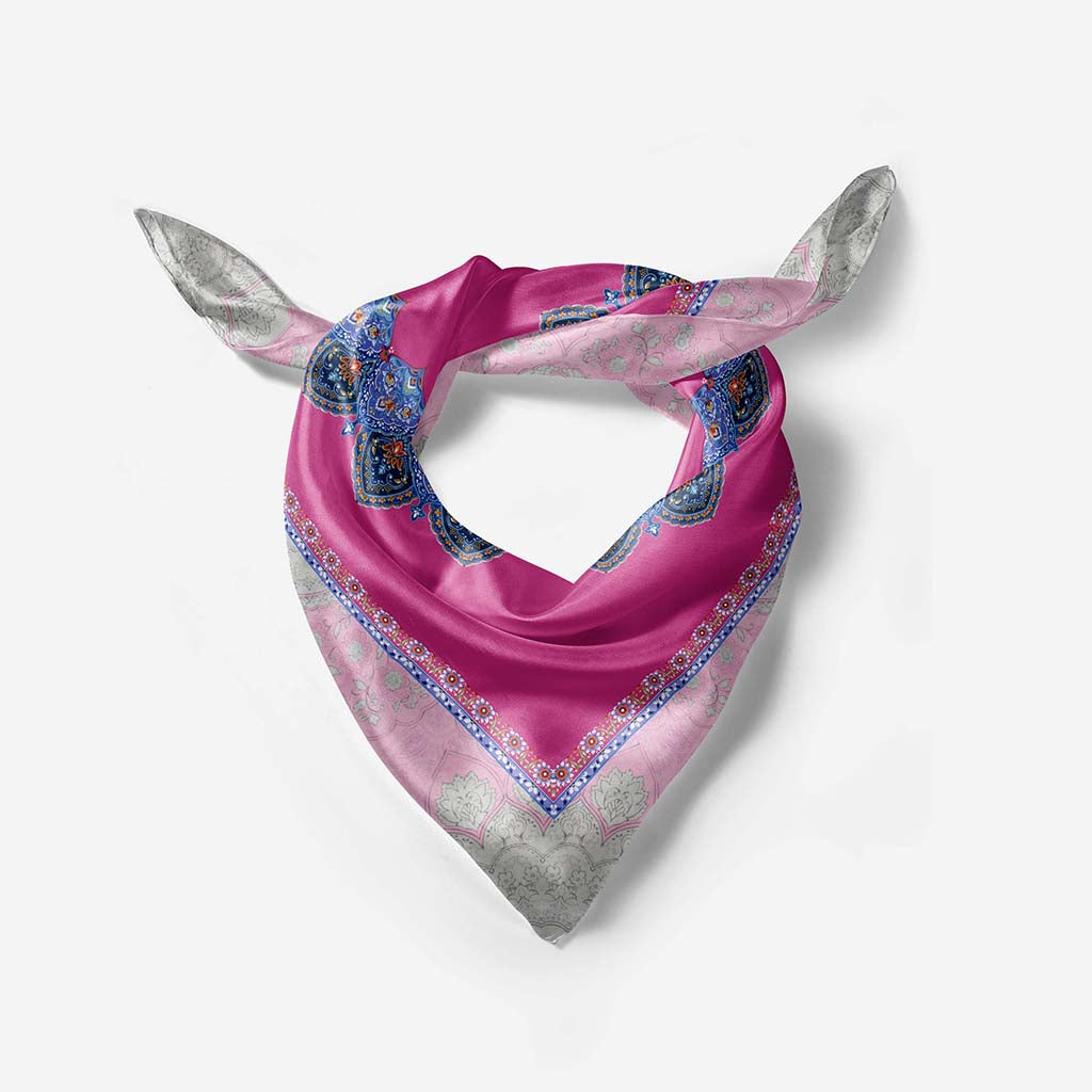 Pink Mina Illustrated Silk Scarf- Narosib Switzerland- Made in Italy