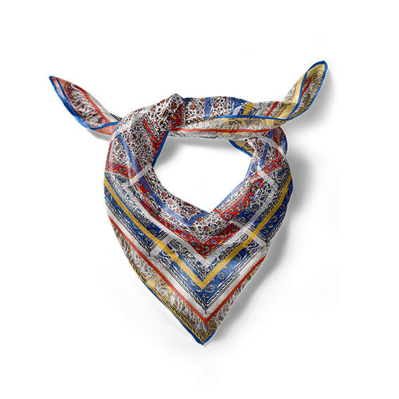 Qalamkar Paisley MULTI-COLOUR PRINT SCARF IN SILK TWILL- Narosib Switzerland- Made in Italy