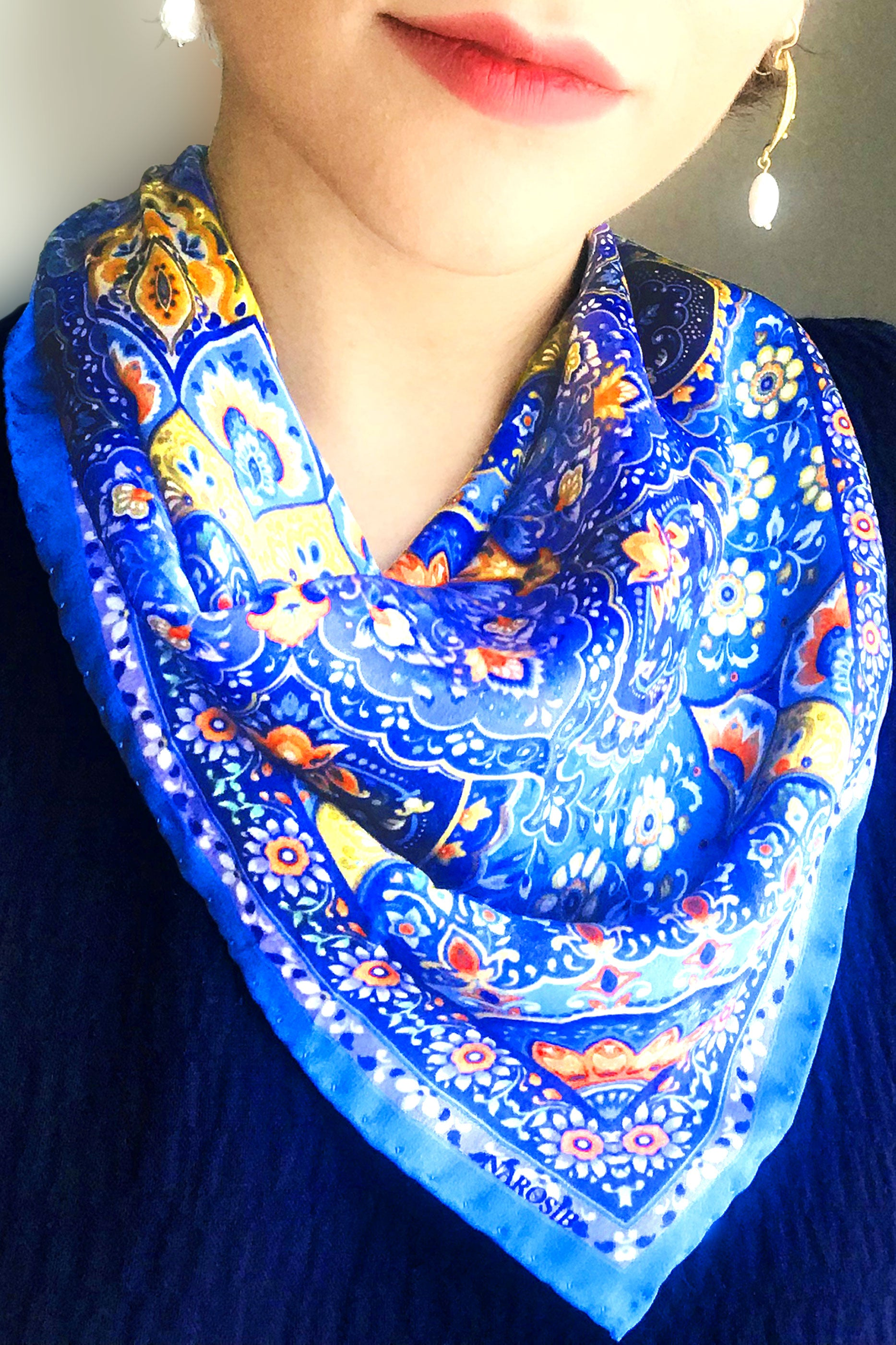 MINA Illustrated Silk Scarf in Persian blue