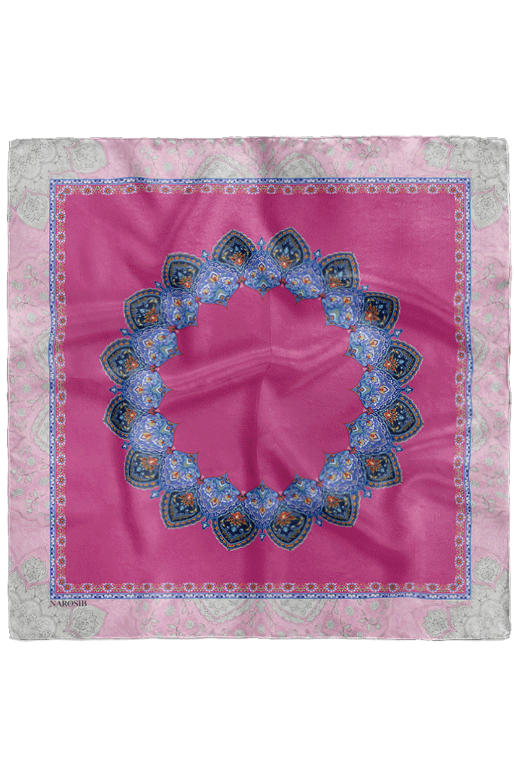 Mina Illustrated Silk Scarf in Pink