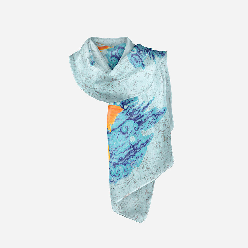 Mystic Cotton-Silk Illustrated Scarf- Narosib Switzerland- Made in Italy