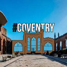 Load image into Gallery viewer, Etch and Pin Coventry Cathedral pin badge overlay