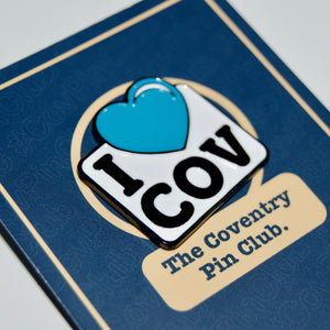 Etch and Pin I Love Coventry pin badge card