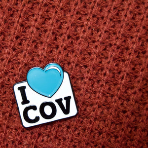 Etch and Pin I Love Coventry pin badge front