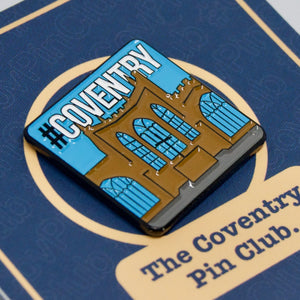 Etch and Pin Coventry Cathedral pin badge card