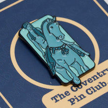 Load image into Gallery viewer, Etch and Pin Lady Godiva Coventry pin badge on card