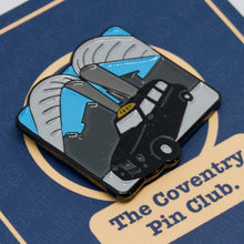 Load image into Gallery viewer, Etch and Pin Whittle Arch Taxi Coventry pin badge card