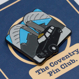 Etch and Pin Whittle Arch Taxi Coventry pin badge card