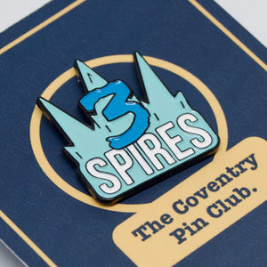 Etch and Pin Three Spires Coventry pin badge on card
