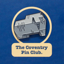 Load image into Gallery viewer, Etch and Pin Elephant Sports Centre Coventry pin badge front