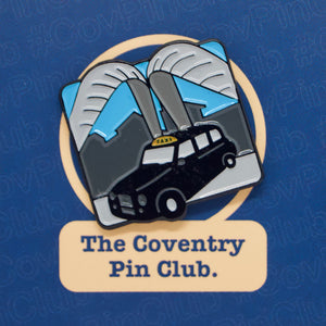 Etch and Pin Whittle Arch Taxi Coventry pin badge front