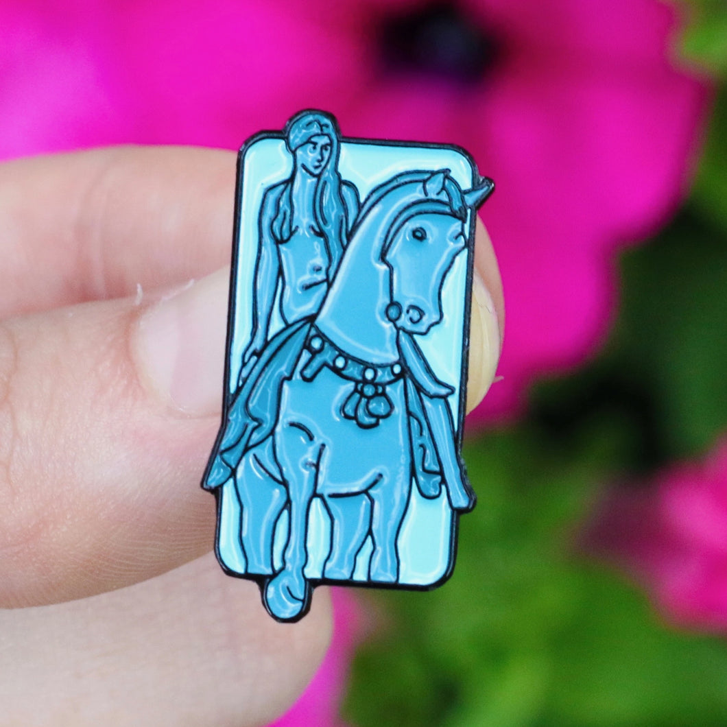 Etch and Pin Lady Godiva Coventry pin badge