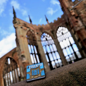 Etch and Pin Coventry Cathedral pin badge photo