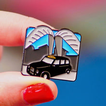 Load image into Gallery viewer, Etch and Pin Whittle Arch Taxi Coventry pin badge