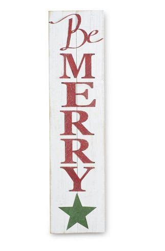 Vintage Be Merry White Wood Sign