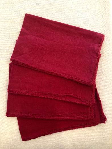 Red Fringe Stone Washed Napkin
