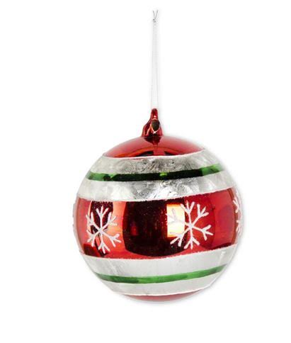 Red Snowflake Round Glass Ornament