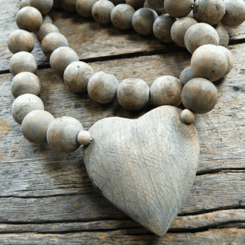 Wooden Beads with Heart/Cross