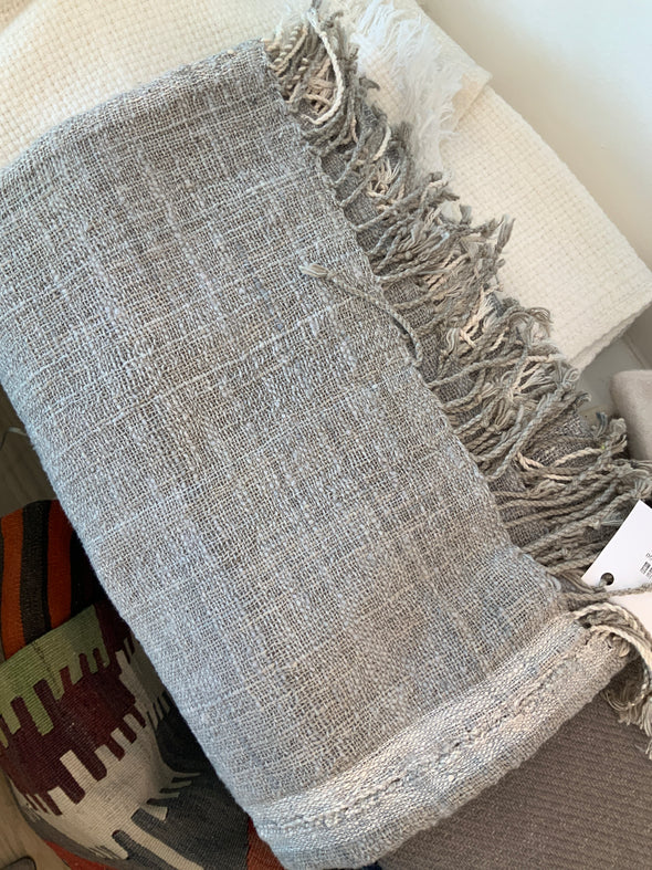 Throw • Border Stripe Linen with Fringe - Grey