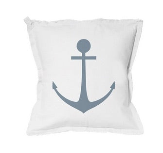 Pillow •  Anchor Pillow White with Blue Letters