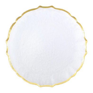 Vietri Baroque Glass • White Service Plate/Charger