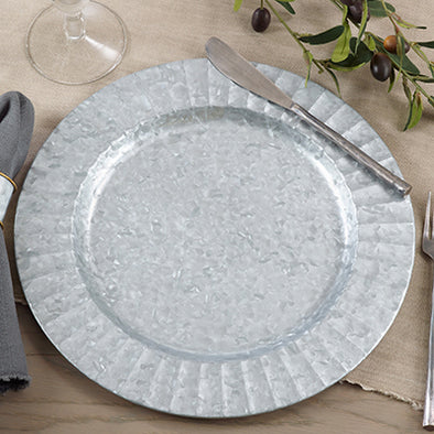 Ruffled Galvanized Silver Plate | Charger