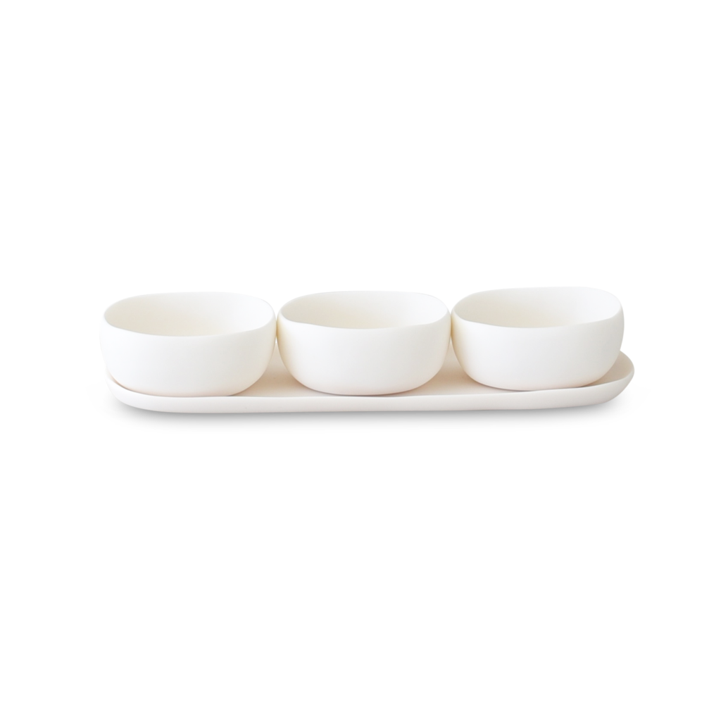 Trio of Bowls on Dish Set White