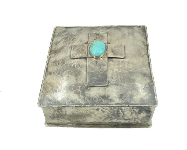 Silver Square Box With Cross