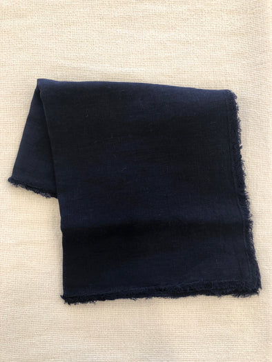 Midnight Blue Fringe Stone Washed Table Runner