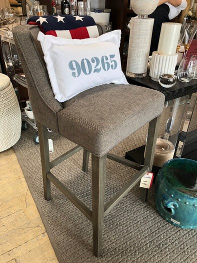 Upholstered Bar Stool - Grey