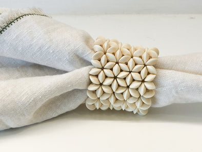 Napkin Ring • Ivory Floral Wood Cut
