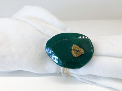 Napkin Ring • Green Emerald With Gold Drusy