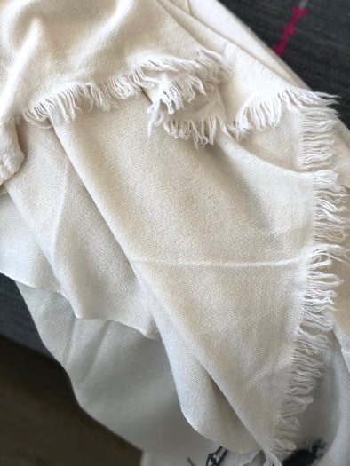 Throw • Slow Cashmere • Large Throw Blanket Ivory