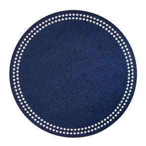 Placemat • Round Navy with White Pearls