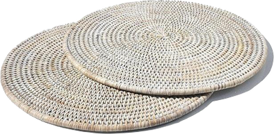 Placemat • Round Rattan White