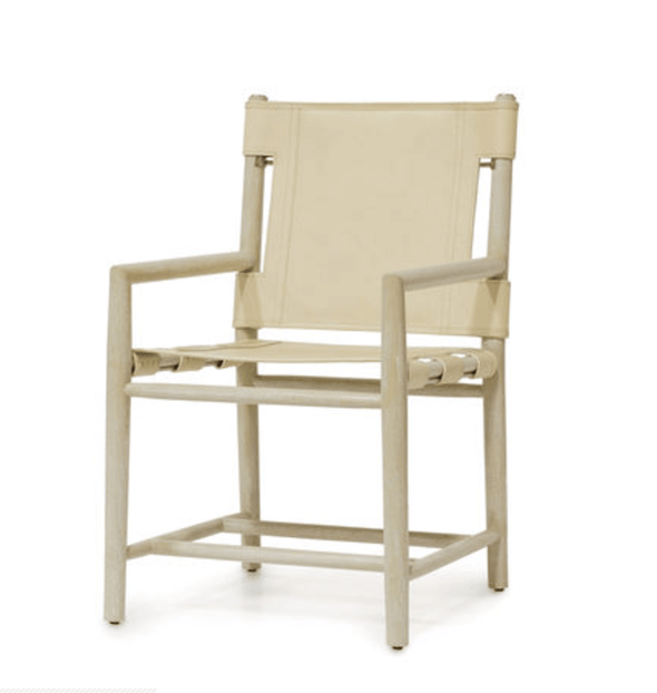 Ivory Wood & Creme Leather Chair