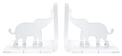 Lucite Elephant Bookends