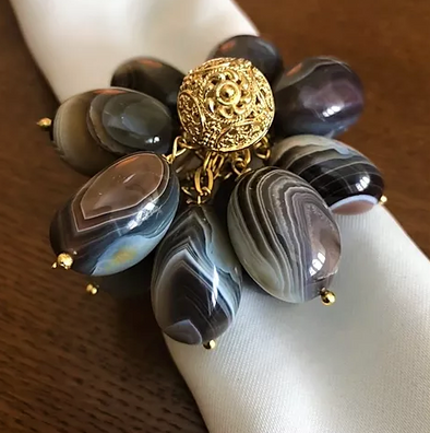 Napkin Ring • Gold Wrapped Agate