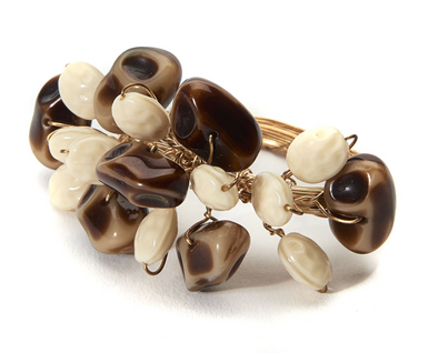 Napkin Ring • Pebble Garland in Tan, Brown and Gold
