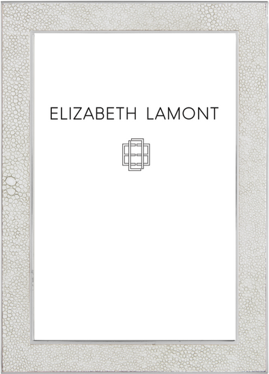 White Shagreen Frame with Silver