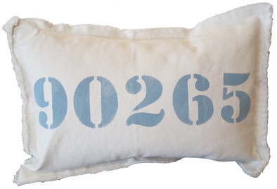 Pillow • 90265 Pillow White with Sky Blue Letters
