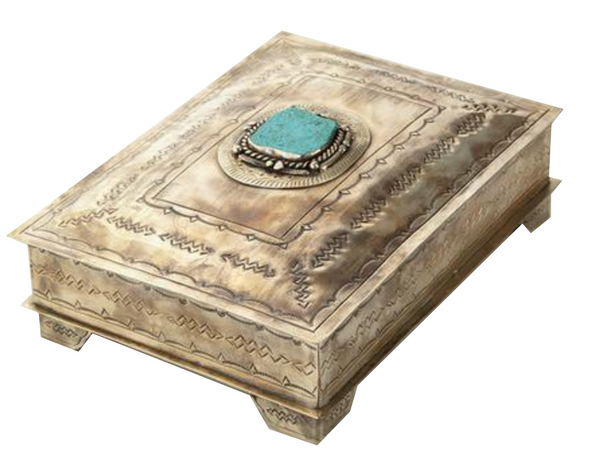 Silver Stamped Box with Turquoise Stone