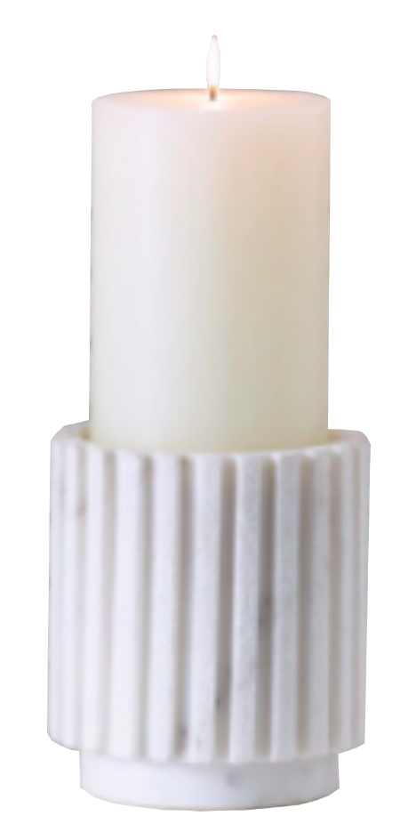 Channeled Pillar Candle Holder
