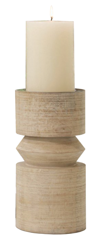 Totem Whitewash Candle Holder (Small)